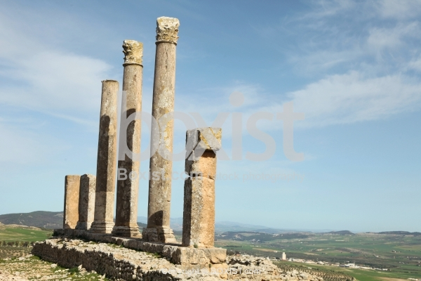 Roman Colums Ruins at the Temple of Saturn at Dougga in Tunisia