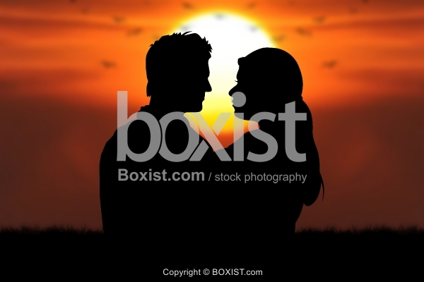 Romantic Couple Silhouette At Sunset