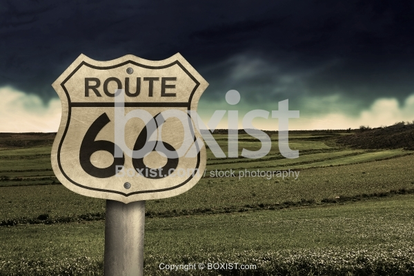 Route 66 Sign With Landscape View