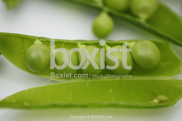 Row Of Green Peas In A Pea Pod