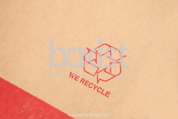 We Recycle Printed On Cardboard