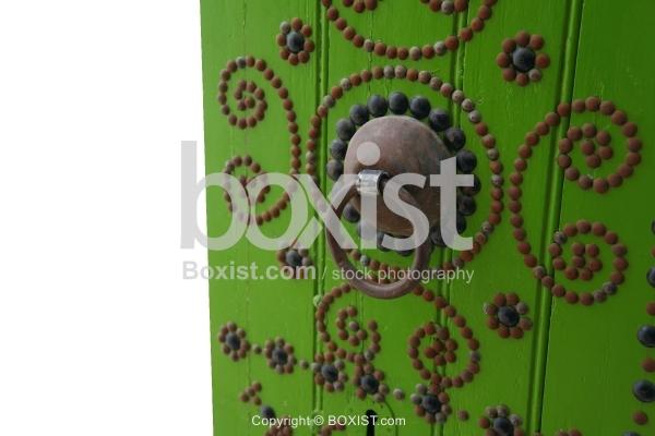 Green Door With Ring Handle