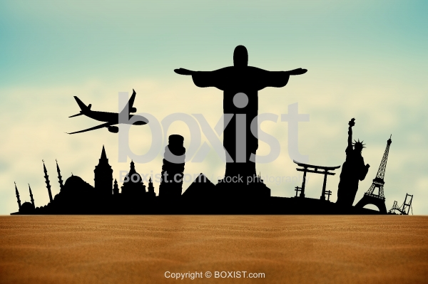 Silhouette of World Travel Famous Cities