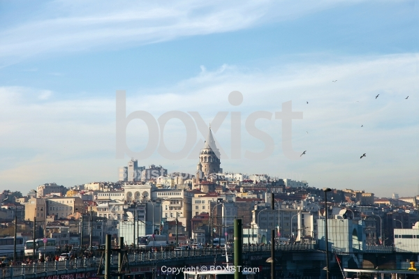 The Tower of Galata in the Center of Istanbul City