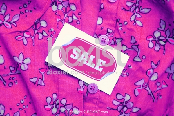 Closeup of Floral Clothe Sale Tag