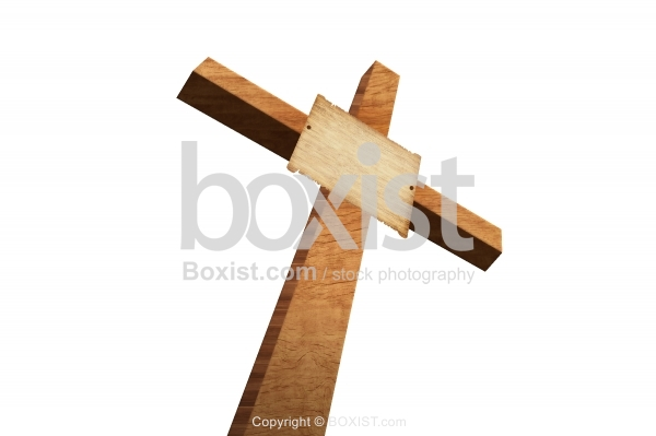 Wooden Cross With Blank Wooden Sign