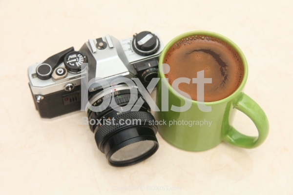 Vintage Camera And Coffee Cup