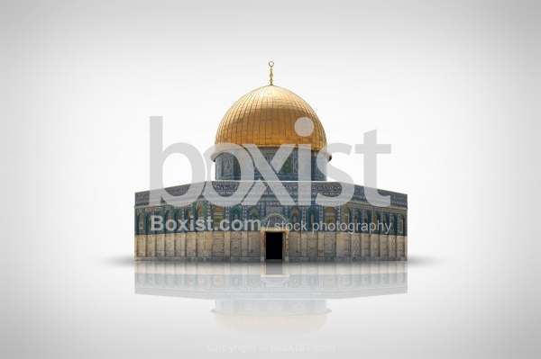 Dome of the Rock Mosque Isolated on Bright Background