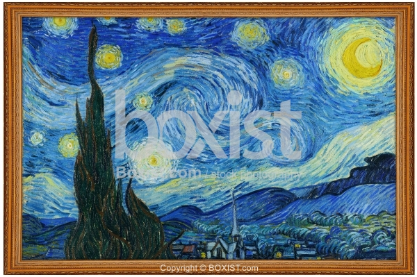 Framed Painting Of Starry Night By Van Gogh