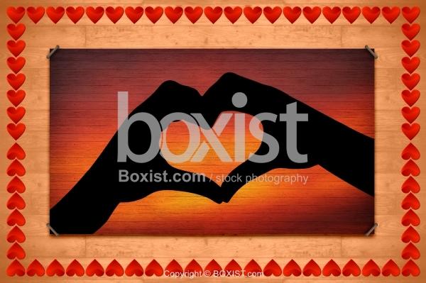 Hands Heart Shape On Wood