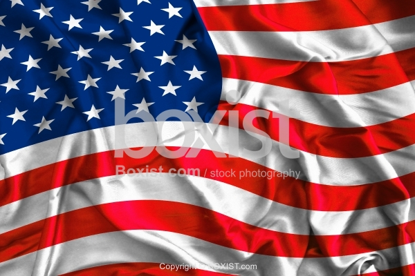 Waving Colorful USA Flag On Silk Background