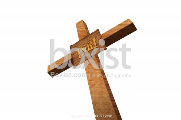 Wooden Cross With INRI Sign