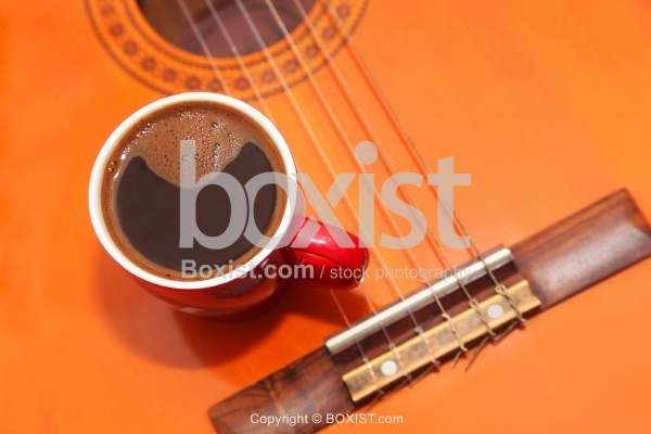 Cup Of Coffee On Guitar