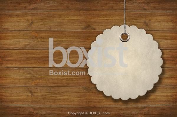 Circular Tag On Wooden Wall