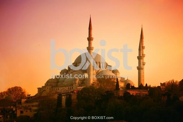 Istanbul Suleymaniye Mosque At Sunset