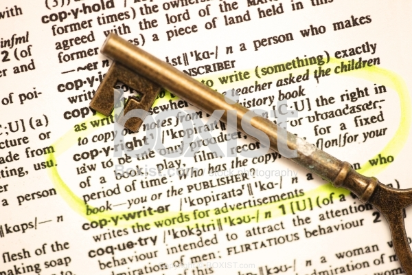 Vintage Key with Copyright Definition from the Dictionary