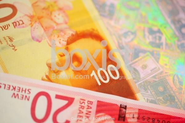 Closeup on New Israeli Shekels Money Banknotes
