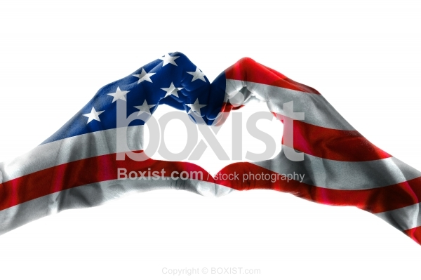 Hand Heart Concept with American Flag