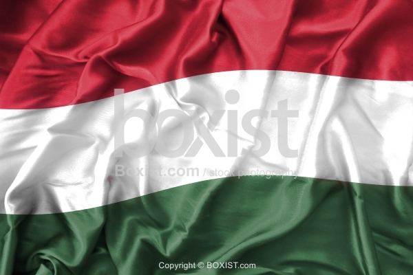 Hungary Flag On Soft And Smooth Silk Background