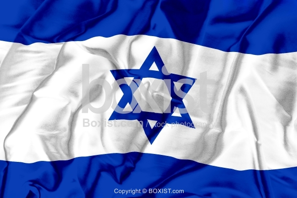 Israel Flag On Soft And Smooth Silk Background