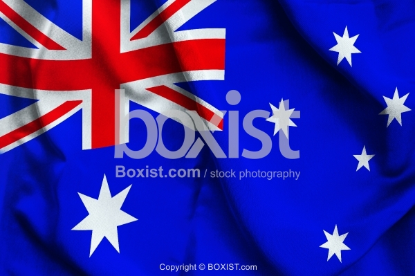 Australia Flag On Soft And Smooth Silk Background