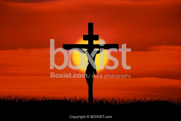 Jesus Crucified On Cross Silhouette With Bright Sun Background