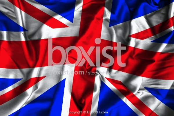 UK Flag On Soft And Smooth Silk Background