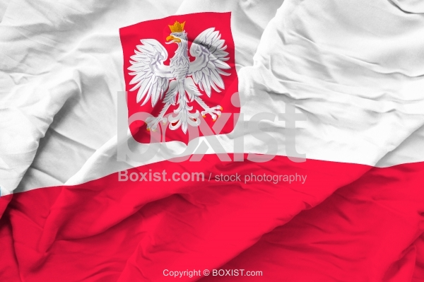 Poland Flag With White Eagle Emblem