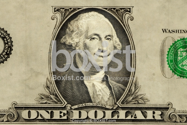 One Dollar Bill With Smiling George Washington
