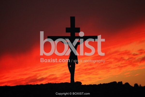 Jesus Hanged On Cross Silhouette Concept