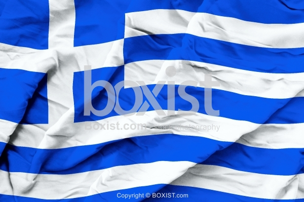 Greece Flag On Wavy Silk Fabric