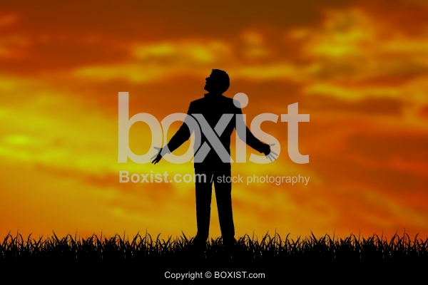 Man With Open Arms Silhouette At Sunset