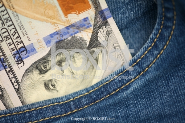 Blue Jeans Pocket With Hundred Dollars