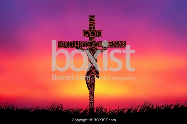 Concept Of Jesus On Cross With Prayer Artwork