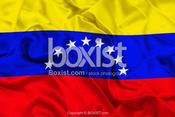 Venezuela Flag On Wavy Silk Fabric
