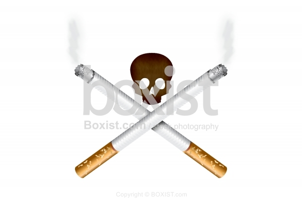 Two Cigarettes And Skull