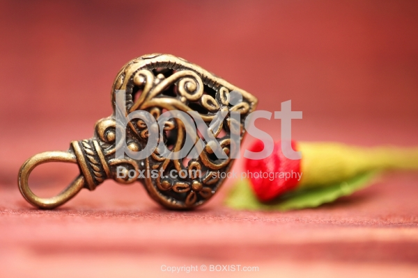 Copper Love Heart With Decorative Ornaments