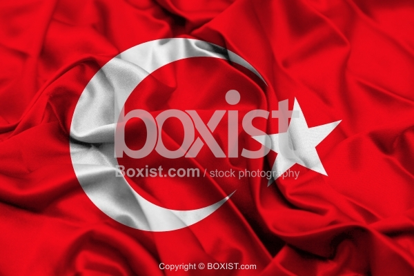 Turkey Flag On Wavy Silk Fabric