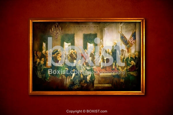 Framed Painting of the Scene at Signing United States Constitution