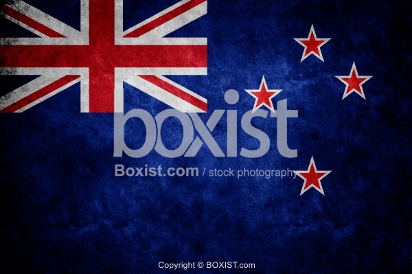 Flag of New Zealand On Grunge Wall