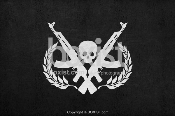 Skull Crossed AK 47 Rifles