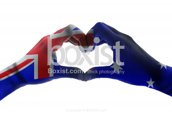 Hands With Australia Flag In Heart Shape Concept
