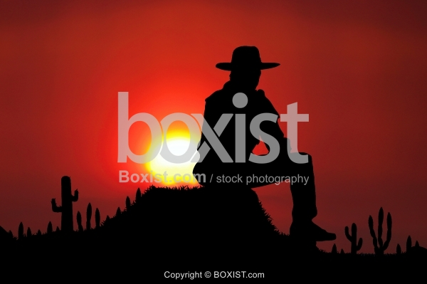 Silhouette Of Man With Hat Watching Sunset
