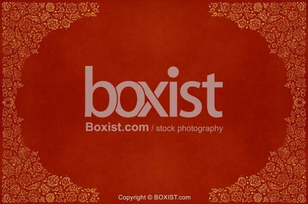 Empty Red Paper with Decorative Border