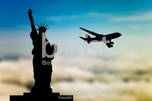 Statue Of Liberty With Airplane Departing