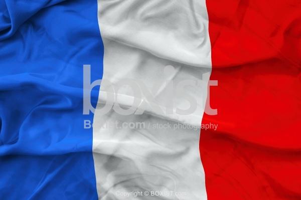 France Flag On Wavy Silk Fabric