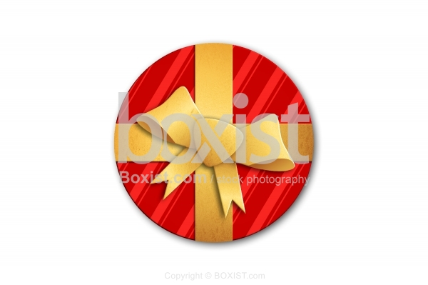 Wrapped Round Gift Box with Golden Ribbon