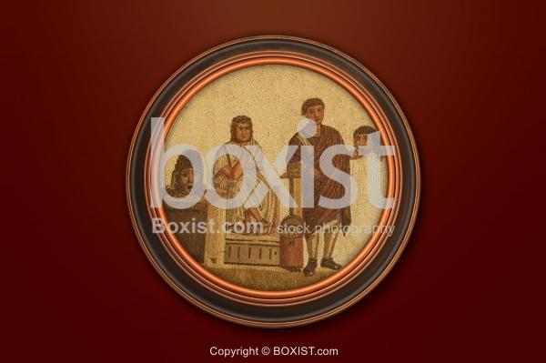 Framed Roman Theatre Scene Mosaic
