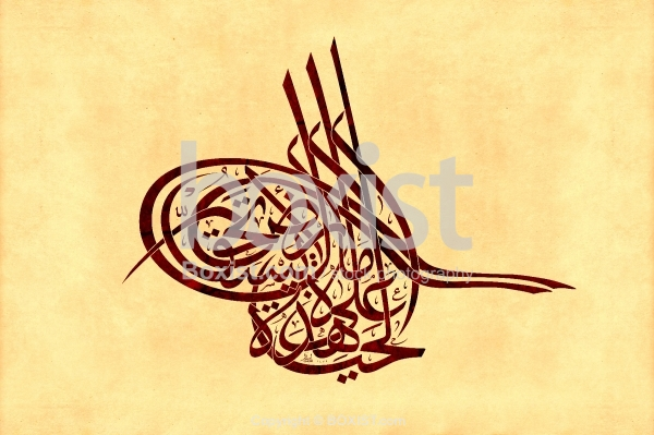 We Have On This Land Poetry in Tughra Arabic Calligraphy.
