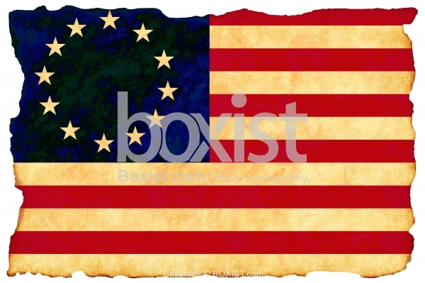 Betsy Ross Flag On Old Paper